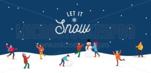 Let it snow people doing winter activities and having fun banner - Vector illustrations for everyone | Microstocker.Pro