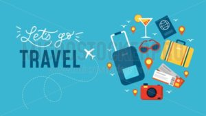 Lets go travel banner - Vector illustrations for everyone | Microstocker.Pro