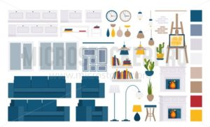 Living room interior elements, indoor objects - Vector illustrations for everyone | Microstocker.Pro
