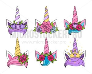 Magic unicorn tiaras set - Vector illustrations for everyone | Microstocker.Pro