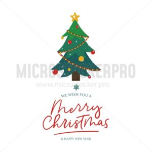 Merry Christmas card with fir-tree and lettering - Vector illustrations for everyone | Microstocker.Pro