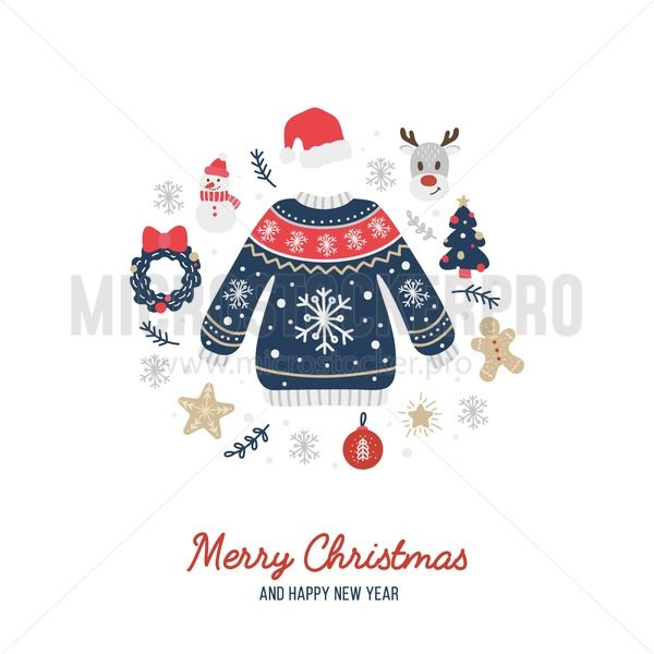 Merry Christmas greeting card with cute warm sweater - Vector illustrations for everyone | Microstocker.Pro
