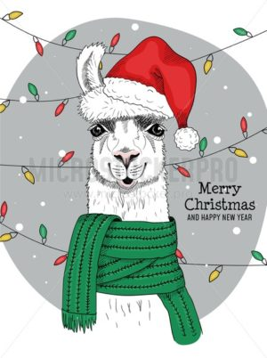 Merry christmas and happy new year from joyful llama - Vector illustrations for everyone | Microstocker.Pro
