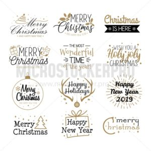Merry christmas labels and greetings set - Vector illustrations for everyone | Microstocker.Pro
