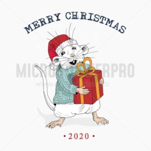 Merry christmas sketched card with cute mouse - Vector illustrations for everyone | Microstocker.Pro