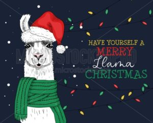 Merry llama christmas greeting festive card - Vector illustrations for everyone | Microstocker.Pro