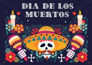 Mexican day of dead festive greeting card - Vector illustrations for everyone | Microstocker.Pro