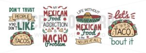 Mexican food like taco and nacho with sombrero - Vector illustrations for everyone   Microstocker.Pro