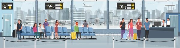 Modern international airport - Vector illustrations for everyone | Microstocker.Pro