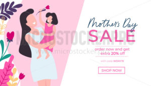 Mothers day greeting card and sale banner - Vector illustrations for everyone | Microstocker.Pro