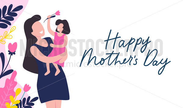 Mothers day greeting card with blossom on white - Vector illustrations for everyone   Microstocker.Pro