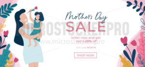 Mothers day sale banner template with flowers - Vector illustrations for everyone | Microstocker.Pro