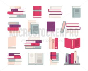 Multicolored books of various authors set - Vector illustrations for everyone | Microstocker.Pro