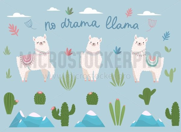 No drama llama cute cartoon set with lettering - Vector illustrations for everyone | Microstocker.Pro