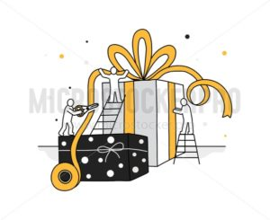 People characters decorating present box - Vector illustrations for everyone | Microstocker.Pro