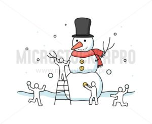 People decorating snowman and playing snowball - Vector illustrations for everyone | Microstocker.Pro