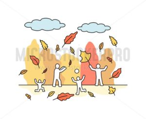People with autumn leaves in park in orange color - Vector illustrations for everyone | Microstocker.Pro