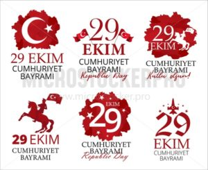 Republic Day of turkey colorful emblems set - Vector illustrations for everyone | Microstocker.Pro