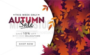 Sale banner with foliage for autumn promotions - Vector illustrations for everyone | Microstocker.Pro