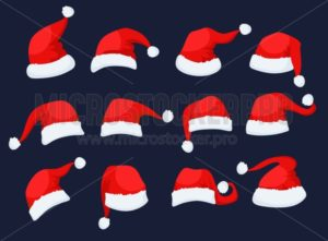 Santa Clause hats icons set - Vector illustrations for everyone | Microstocker.Pro