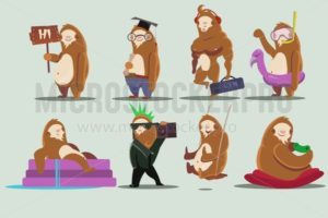 Sloth character set - Vector illustrations for everyone | Microstocker.Pro