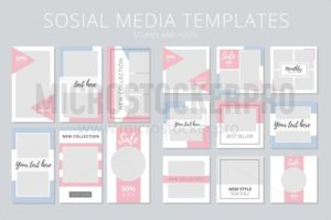 Social media templates stories and posts - Vector illustrations for everyone | Microstocker.Pro