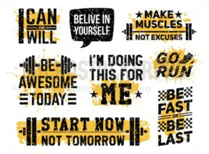 Sport fitness and gym motivational prints set - Vector illustrations for everyone | Microstocker.Pro