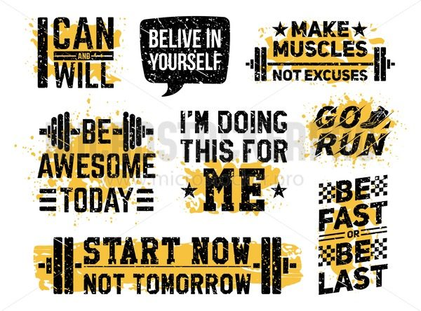 Sport fitness and gym motivational prints set - Vector illustrations for everyone   Microstocker.Pro