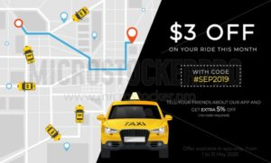 Taxi promo ad banner with profitable proposition - Vector illustrations for everyone | Microstocker.Pro