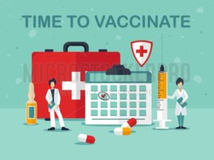 Time to vaccinate against viral diseases poster - Vector illustrations for everyone | Microstocker.Pro