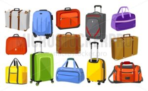 Travel suitcases set - Vector illustrations for everyone | Microstocker.Pro