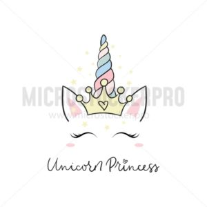 Unicorn princess doodle card - Vector illustrations for everyone | Microstocker.Pro