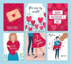 Valentines day cards, woman and man hugging - Vector illustrations for everyone | Microstocker.Pro