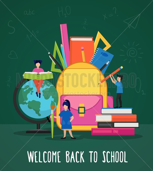 Welcome back to school poster - Vector illustrations for everyone | Microstocker.Pro