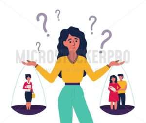 Woman having hard choice between job and relatives - Vector illustrations for everyone | Microstocker.Pro