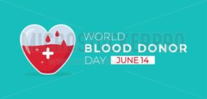 World blood donor day flat banner - Vector illustrations for everyone | Microstocker.Pro