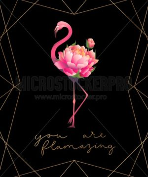 You are flamazing print with cute pink flamingo - Vector illustrations for everyone | Microstocker.Pro