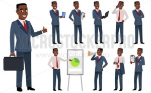 Young businessman boss cartoon character set - Vector illustrations for everyone | Microstocker.Pro