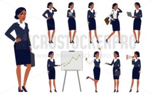 Young businesswoman boss cartoon in black suit set - Vector illustrations for everyone | Microstocker.Pro
