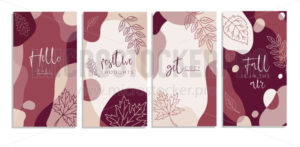 Abstract backgrounds collection hello fall, positive thought, get cozy set - Vector illustrations for everyone | Microstocker.Pro