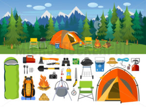 Camping supplies, tools and equipment banners set - Vector illustrations for everyone | Microstocker.Pro