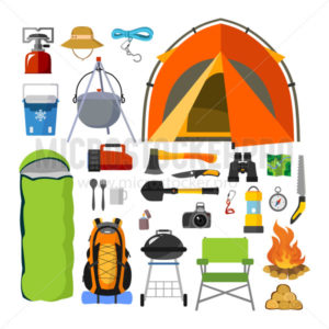 Camping supplies, tools and equipment set - Vector illustrations for everyone | Microstocker.Pro
