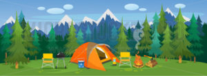 Camping travelling picturesque landscape - Vector illustrations for everyone | Microstocker.Pro