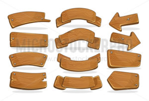 Cartoon wooden signboards of various shapes set - Vector illustrations for everyone | Microstocker.Pro