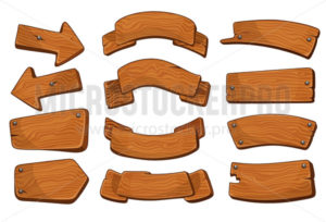 Cartoon wooden signs of various shapes collection - Vector illustrations for everyone | Microstocker.Pro