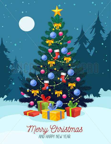 Christmas festive greeting card with xmas tree - Vector illustrations for everyone | Microstocker.Pro