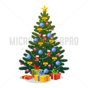 Christmas tree with Xmas star, balls and lights - Vector illustrations for everyone | Microstocker.Pro