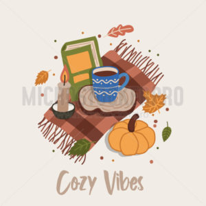 Cozy vibes cute card or poster with book and cup of beverage - Vector illustrations for everyone | Microstocker.Pro