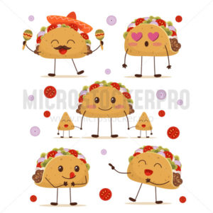 Cute and fun positive taco character set - Vector illustrations for everyone | Microstocker.Pro