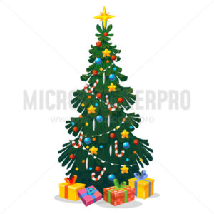 Decorated Christmas tree in cartoon style - Vector illustrations for everyone | Microstocker.Pro